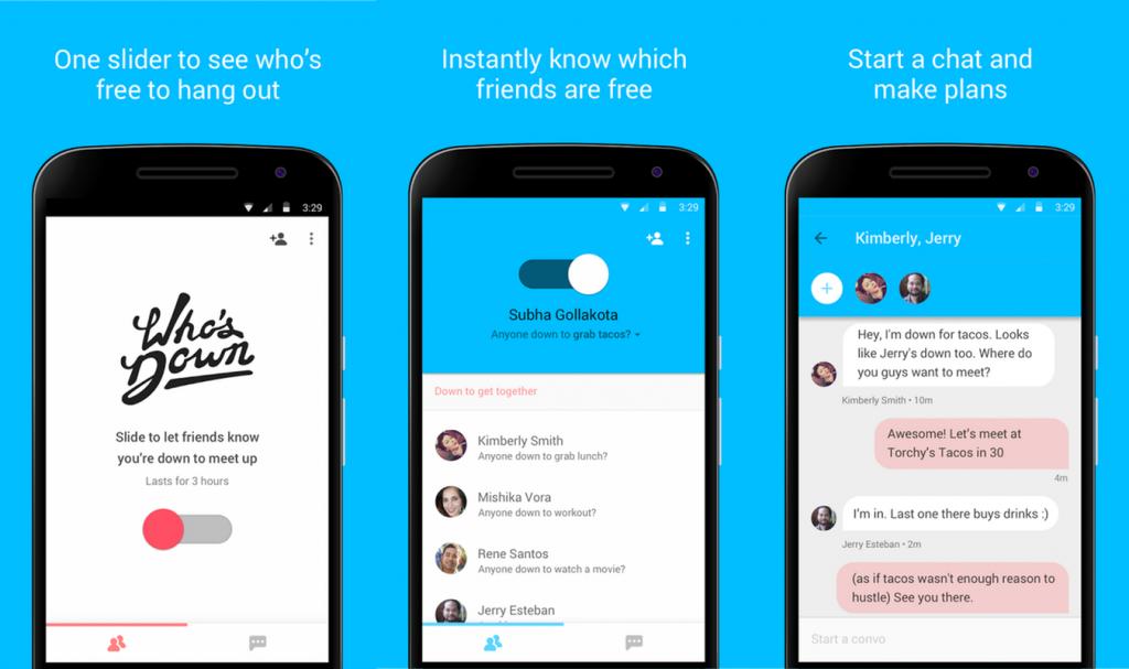 Who's Down - app google permet de savoir qui est disponible
