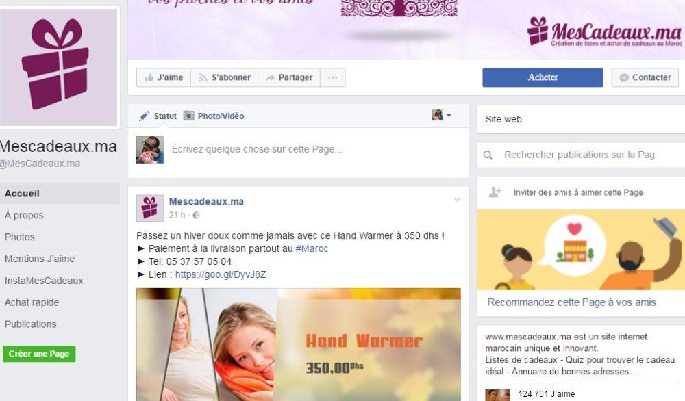 Page Facebook Officielle  Mescadeaux.ma