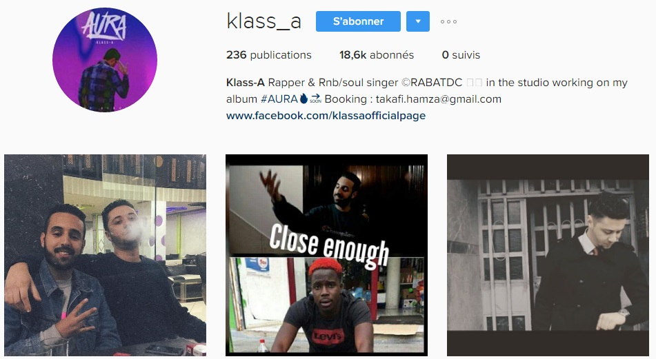 Instagram de KLASS A - Rap Maroc 2017
