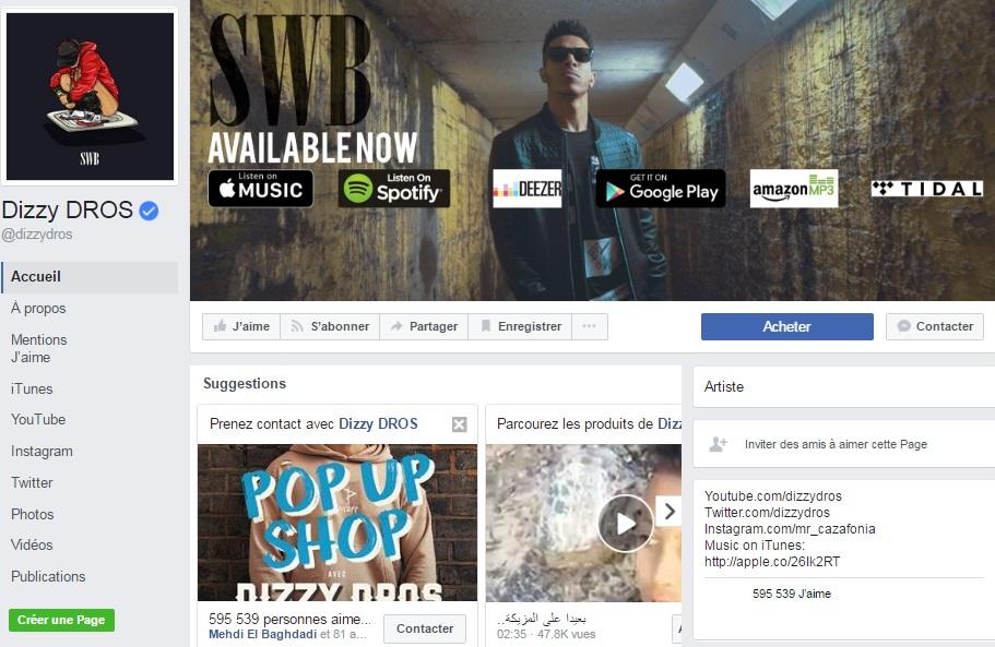Page Facebook de Dizzy DROS - Rap Maroc 2017