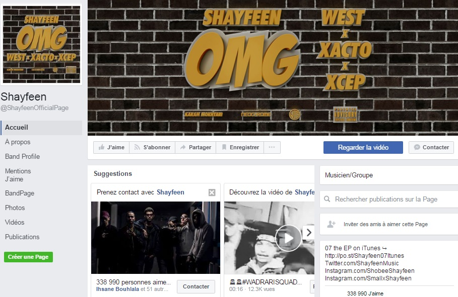 Page Facebook de SHAYFEEN - Rap Maroc 2017