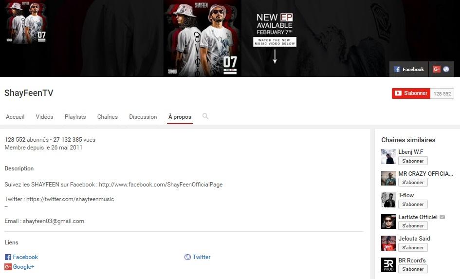 Chaîne Youtube de SHAYFEEN - Rap Maroc 2017